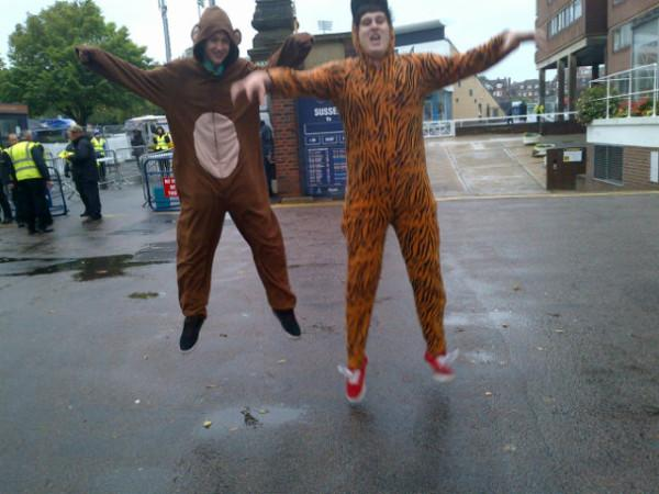 Cory Davis, 18, and Dan O'Neil, 18, are wearing animal costumes.They're excited about seeing rizzle kicks