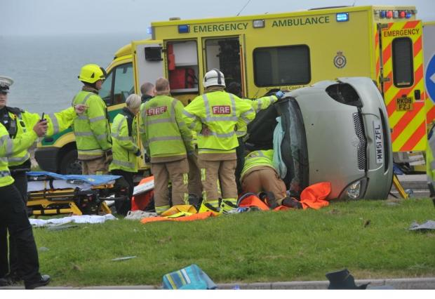 Elderly driver seriously injured after Brighton seafront crash. Photo: Patrick Kneath