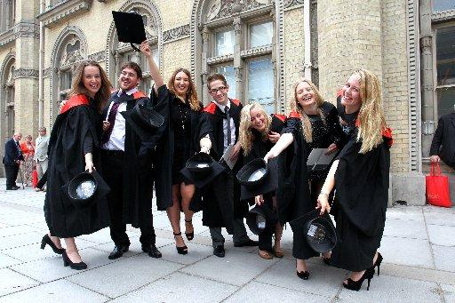 University of Sussex graduates celebrate outside the Brighton Dome