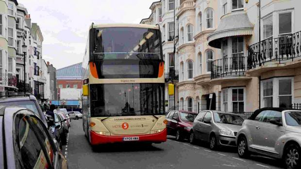 Buses were affected by heavy traffic after thousands of visitors flocked to Brighton to enjoy the warm weather