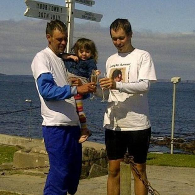 Ross and James Stokley at John O'Groats