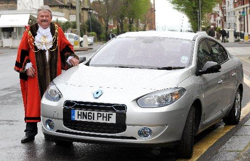 Brighton and Hove mayor Bill Randall with the electric car