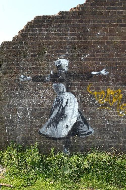 The Julie Andrews artwork on a wall at Devil's Dyke