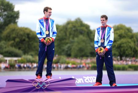 Team GB's Alistair Brownlee celebrates gold with brother Jonathan who won bronze in the Men's Triathlon on the eleventh day of the London 2012 Olympics...Pic: PA