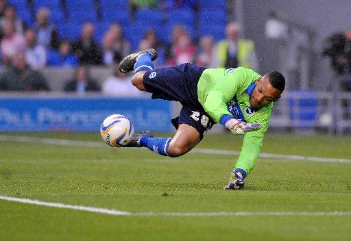 Michel Kuipers makes a fine save during a cameo appearances tonight. Picture by Tony Wood