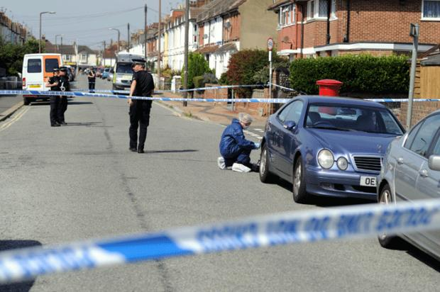 Police at the scene in Pavilion Road Worthing this morning (photo Simon Dack)