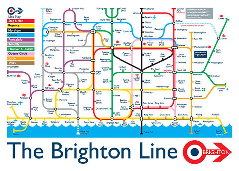 Brighton Travel Map This Tongue In Cheek Brighton Version Of The London Underground