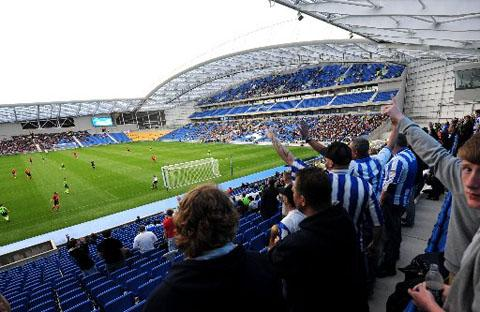 FIRST VIEW: Fans in the North Stand during the first match held at the Amex, Eastbourne Borough v Brighton and Hove Albion Reserves, on July 16, 2011.