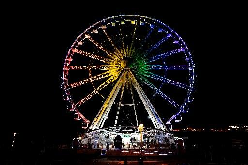 Rainbow colours on the Brighton Wheel ready for Pride