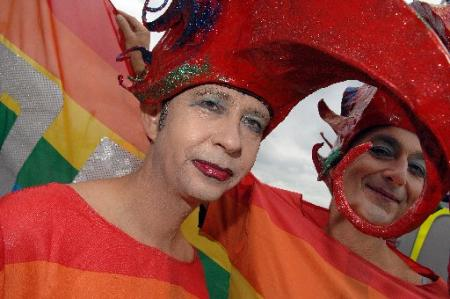 Thousands of people lined the streets as the colourful annual Pride Brighton and Hove parade made its way through the city centre