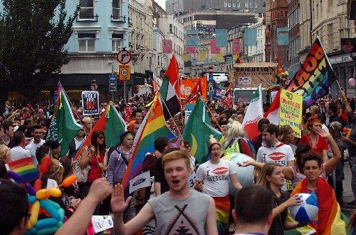 Brighton Pride parade in the centre of town in September 2012