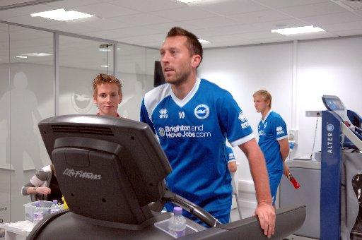 Stephen Dobbie doing some work at The Amex yesterday. Picture by Terry Applin