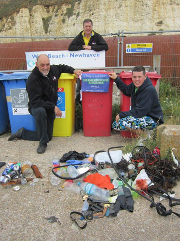 Newhaven divers in underwater litter pick