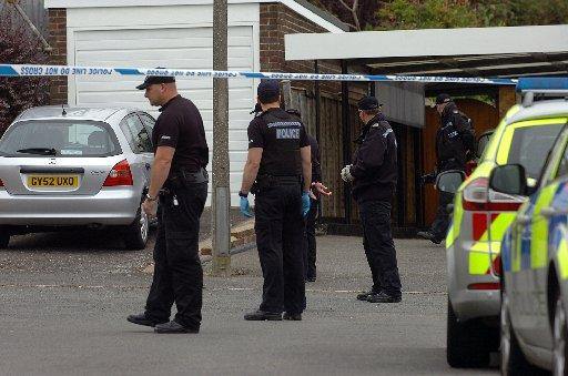 Police at the scene in North Way, Seaford, on Sunday