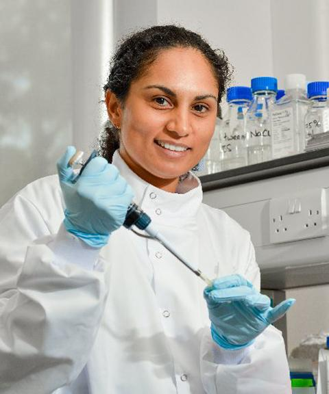 Lekshmy Balakrishnan working on breast cancer research