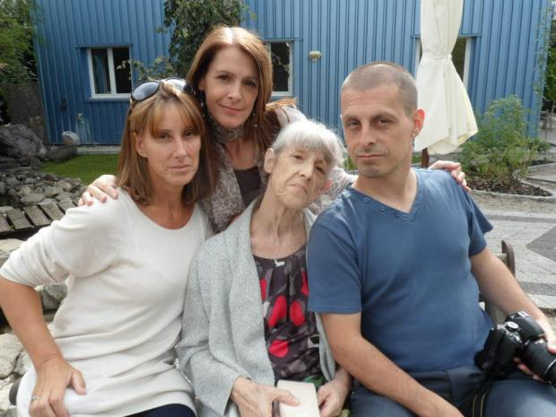 The last picture - Jackie Meacock with her children outside the Dignitas clinic in Switzerland, taken minutes before she went inside and took her own life