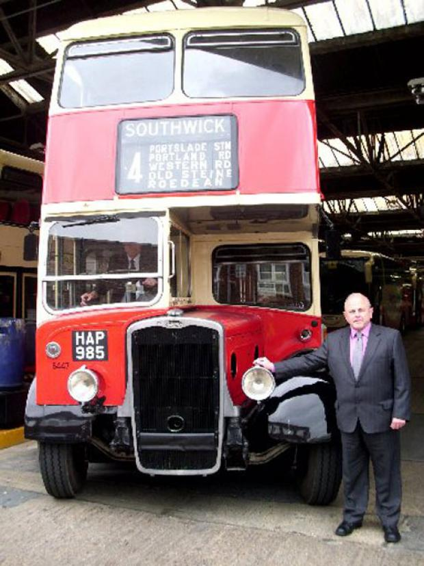 Ron Hayes with one of Brighton and Hove Buses vintage vehicles