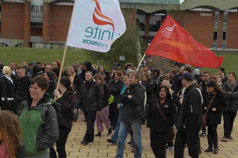 Protesters at the University of Sussex