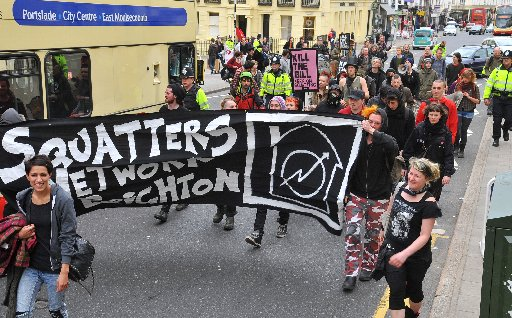 Squatters demonstrating in Brighton earlier this year