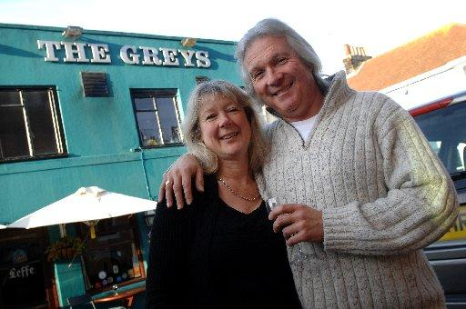 Gill Perkins and Chris Beaumont, pictured outside The Greys pub in Brighton
