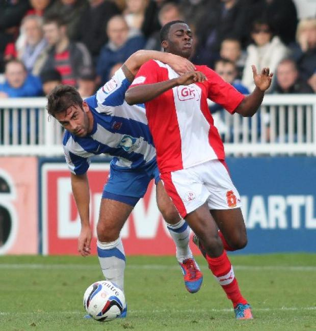 Hope Akpan in action at Hartlepool