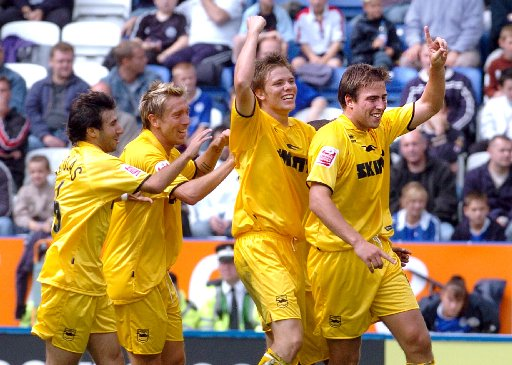 Remember this? Adam Virgo celebrates Albion's last goal at Leicester to win the game in August 2004