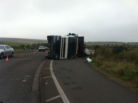 The overturned lorry on the A259 near Newhaven – by Sean McAree
