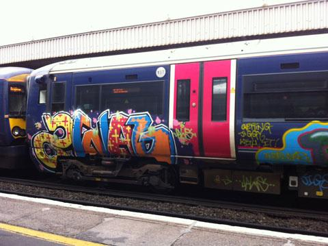 Graffiti on First Capital Connect trains serving Sussex