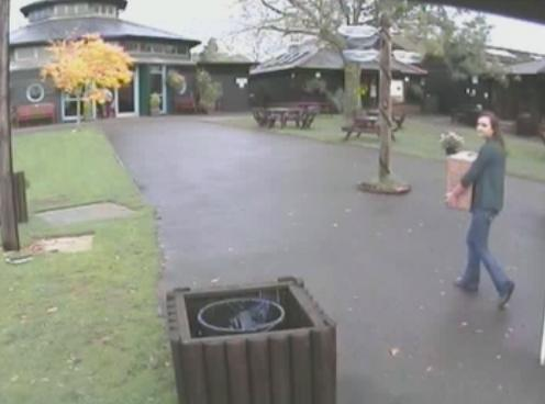A still from CCTV showing a woman dumping a box containing a rabbit at Raystede Centre for Animal Welfare