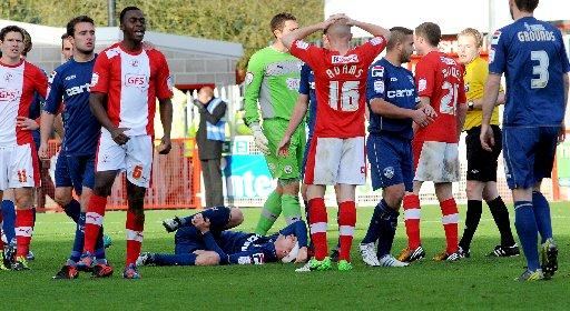 Hope Akpan was sent off against Oldham on Saturday