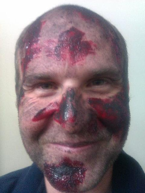 Members of the Eastbourne RNLI crews wearing casualty make-up – pictures by Richard Lamour