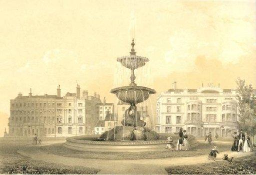 A print of the Victoria Fountain in Brighton shortly after its unveiling in May 1846