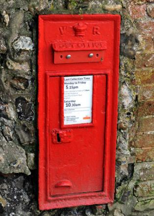 One of the blocked up post boxes in Rottingdean