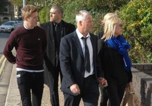 Saunders family arrive at Hove Crown Court