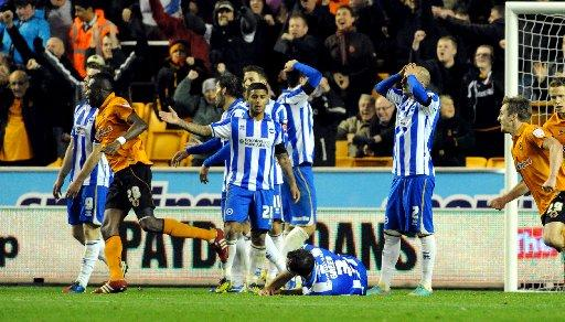 Albion players are crestfallen after Wolves snatch a point