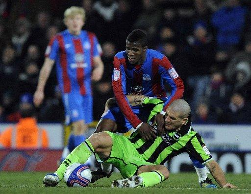 Wilfried Zaha, grappling with Albion's Adam El-Abd last season.