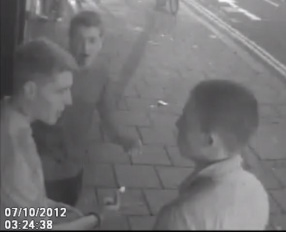 Police are hunting for these three men after an assault in West Street, Brighton.