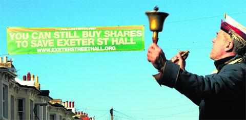 Town Crier Simon Pascoe calls the community to buy Exeter Street Hall