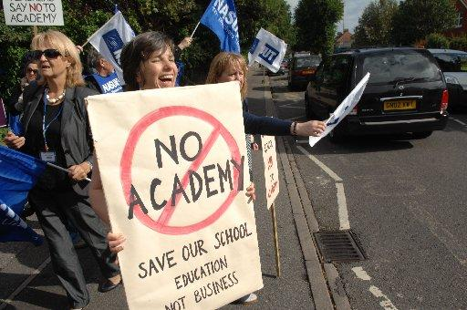 Parents protesting outside Worthing High School earlier this year