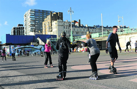 Skaters on the Elipse area of Brighton seafront