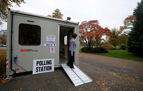 Waiting for voters at Preston Park polling station in Brighton
