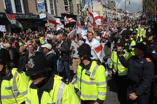 EDL supporters take part in the March for England in Brighton in April