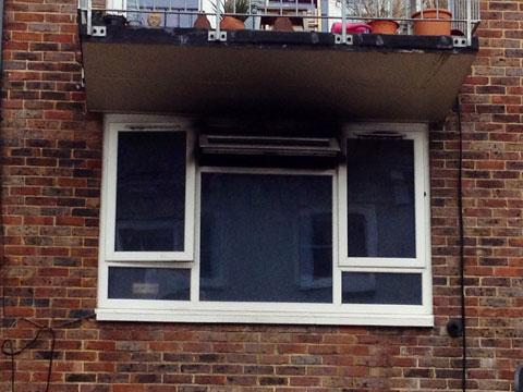 Damage to the flat in  Park Crescent Terrace, Brighton