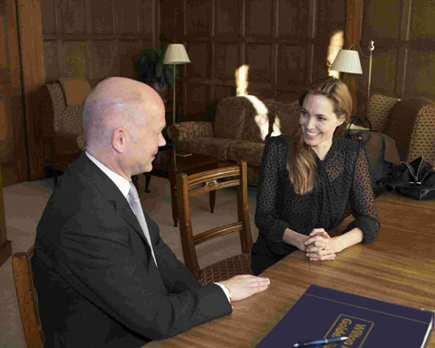 Angelina Jolie with William Hague at Wiston Park near Steyning