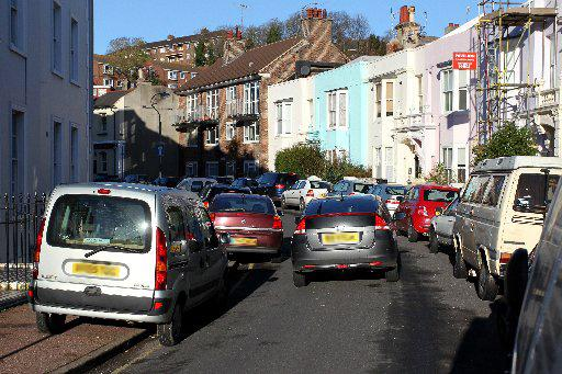 Firefighters were unable to drive along Park Crescent Road in Brighton, due to badly parked cars