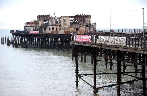 Hastings Pier in a dilapidated state