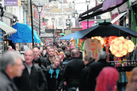 Shoppers in Kensington Gardens, Brighton