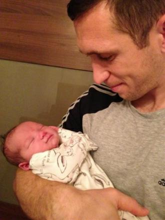Andrew Crofts with new daughter Belle