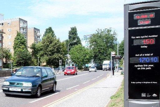 The bike counter on London Road after it was installed in 2010