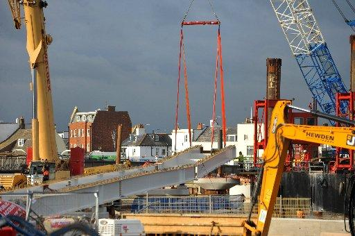 New sections of Shoreham footbridge are put into place